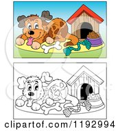 Cartoon Of A Happy Dog With Supplies By His House In Color And Black And White Royalty Free Vector Clipart