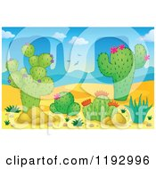 Cartoon Of A Desert Landscape With Cacuts And Aloe Plants Royalty Free Vector Clipart by visekart
