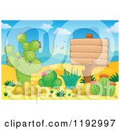Cartoon Of A Wooden Sign And Cacuts Plants In The Desert Royalty Free Vector Clipart by visekart
