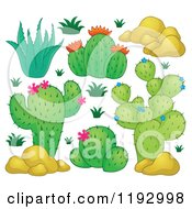 Cartoon Of Green Cacuts Plants With Pink Flowers And Boulders Royalty Free Vector Clipart by visekart