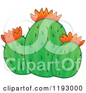 Cartoon Of A Green Cacuts Plant With Orange Flowers Royalty Free Vector Clipart by visekart