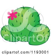 Cartoon Of A Green Cacuts Plant With A Pink Flower Royalty Free Vector Clipart by visekart