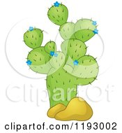 Cartoon Of A Green Cacuts Plant With Blue Flowers And Boulders Royalty Free Vector Clipart by visekart