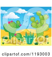 Cartoon Of A Desert Landscape With Cacuts Plants Royalty Free Vector Clipart by visekart