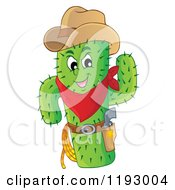 Cartoon Of A Green Cacuts Sheriff With A Cowboy Hat Royalty Free Vector Clipart by visekart
