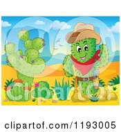 Cartoon Of A Sheriff Cacuts With Other Plants In The Desert Royalty Free Vector Clipart by visekart