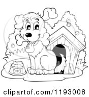 Cartoon Of A Black And White Happy Dog With A Bone By His House Royalty Free Vector Clipart