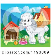 Cartoon Of A Happy White Poodle With Food By A Dog House Royalty Free Vector Clipart