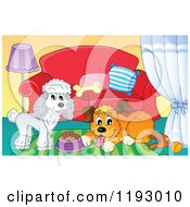 Cartoon Of A Happy White Poodle And Brown Dog With Food In A Living Room Royalty Free Vector Clipart