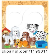 Cartoon Of A Border Of Dogs And Supplies With Paw Prints Around Copyspace Royalty Free Vector Clipart