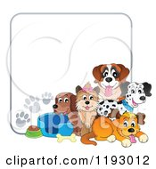 Cartoon Of Dogs And Supplies With Paw Prints Around Copyspace Royalty Free Vector Clipart