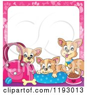 Cartoon Of Chihuahua Dogs With Supplies And A Pink Paw Print Frame Around White Copyspace Royalty Free Vector Clipart