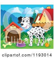 Cartoon Of A Happy Dalmatian Dog With Food By A House Royalty Free Vector Clipart
