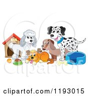Cartoon Of Dogs And Supplies By A House Royalty Free Vector Clipart by visekart