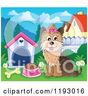 Cartoon Of A Happy Yorkie Terrier Sittingby A Dog House With Food And A Bone Royalty Free Vector Clipart