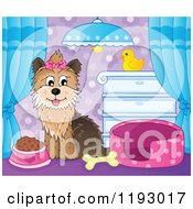 Cartoon Of A Happy Yorkie Terrier Sitting In A Room With Food A Bed And Bone Royalty Free Vector Clipart