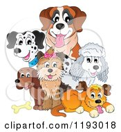 Cartoon Of Happy Dogs And A Bone Royalty Free Vector Clipart