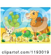 Cartoon Of A Fox And Camel By Cactus Plants In A Desert Royalty Free Vector Clipart by visekart