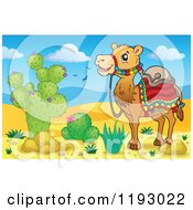 Cartoon Of A Saddled Camel In A Desert Royalty Free Vector Clipart