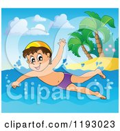 Cartoon Of A Happy Boy Swimming Near An Island Beach Royalty Free Vector Clipart