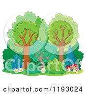 Cartoon Of A Lush Trees With Shrubs Flowers And Mushrooms Royalty Free Vector Clipart by visekart