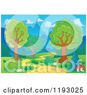 Cartoon Of A Winding Path Through Trees Royalty Free Vector Clipart