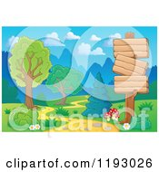 Cartoon Of Wooden Signs Along A Winding Path In A Landscape Royalty Free Vector Clipart