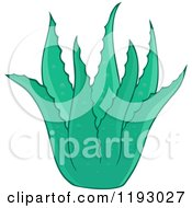 Cartoon Of A Green Aloe Plant Royalty Free Vector Clipart by visekart