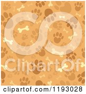 Cartoon Of A Seamless Brown Paw Print And Dog Bone Pattern Royalty Free Vector Clipart