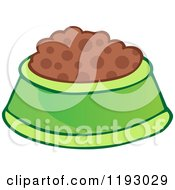 Cartoon Of A Green Pet Food Bowl Dish Royalty Free Vector Clipart