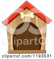 Cartoon Of A Brown Dog House With A Bone Over The Door Royalty Free Vector Clipart by visekart