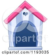 Cartoon Of A Purple And Pink Dog House With A Heart Over The Door Royalty Free Vector Clipart