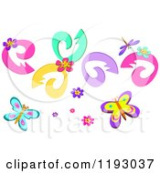 Floral Swirls Blooms Butterflies And A Dragonfly