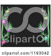 Black Background With Flowering Vines And Copyspace
