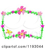 Cartoon Of A Yellow Butterfly And Frame Of Pink Flowers And Green Waves Royalty Free Vector Clipart