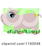 Cartoon Of A Cute Blue Eyed Hippo With Flowers And Green Zig Zags Royalty Free Vector Clipart