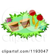 Cartoon Of Maracas And Drums With Flowers Royalty Free Vector Clipart by bpearth