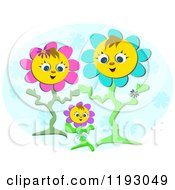 Happy Flower Parents And Their Baby Over A Blue Oval