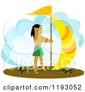 Cartoon Of A Man Wind Surfing Royalty Free Vector Clipart