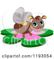 Cartoon Of A Happy Bee On A Flower Royalty Free Vector Clipart