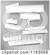 Clipart Of 3d White Paper Banners Over Gray Royalty Free Vector Illustration