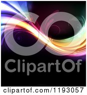 Clipart Of A Colorful Wave With Swirls On Black Royalty Free Vector Illustration
