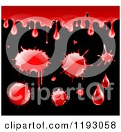 Clipart Of Blood Drips And Splatters On Black Royalty Free Vector Illustration by TA Images