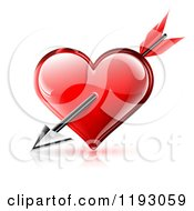 Cupids Arrow Through A Red Glossy Heart With Reflections On White