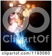 Clipart Of Orbs And Colorful Lights With Floral Swirls On Black Royalty Free Vector Illustration