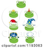 Cartoon Of Happy Frog Faces With Different Hats Royalty Free Vector Clipart by Hit Toon