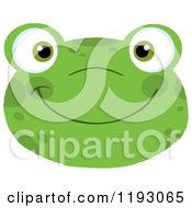 Cartoon Of A Smiling Happy Frog Face Royalty Free Vector Clipart