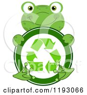 Cartoon Of A Happy Green Frog Hugging A Recycle Symbol Royalty Free Vector Clipart
