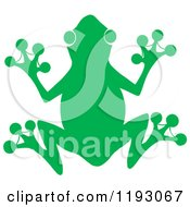 Cartoon Of A Green Silhouetted Frog Royalty Free Vector Clipart by Hit Toon