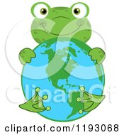 Cartoon Of A Happy Green Frog Hugging Earth Royalty Free Vector Clipart